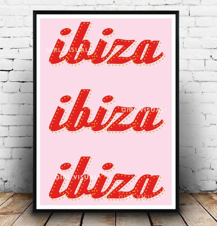 Ibiza poster, Ibiza wall decor, Ibiza gift idea, Fun quirky pink print, Ibiza wall decor, Ibiza Spain travel, Wanderlust poster, Sassy print – Colourful prints