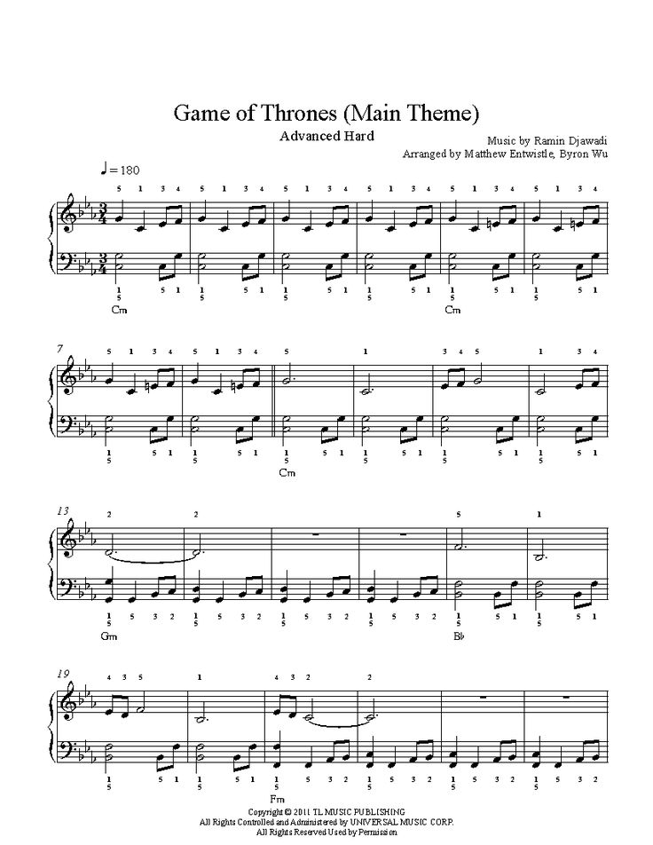 Game of Thrones Main Theme by Ramin Djawadi Piano Sheet Music | Advanced Level
