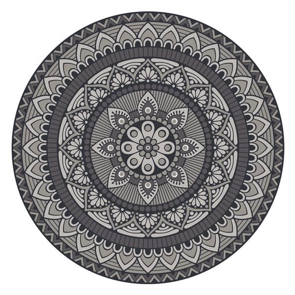 Vinyl Teppich Rund Matteo Mandala 1 Grau Vinyl Teppich Teppich