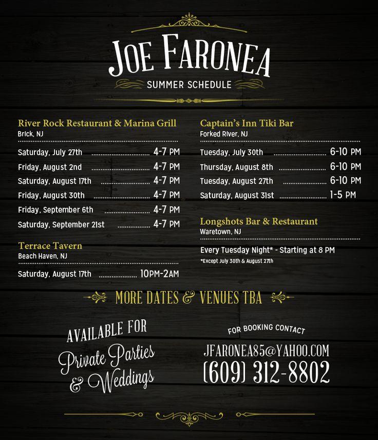 Joe Faronea Acoustic Show Schedule Design.