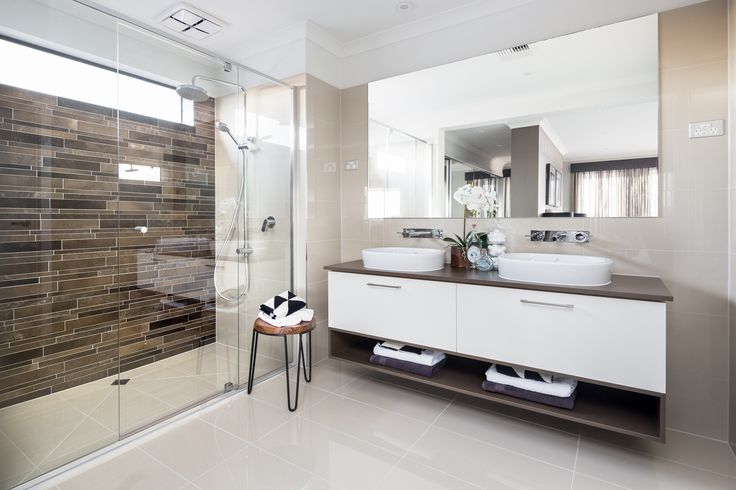 ENSUITE: Worn look marbles introduce the old timely charm whilst contrasting polished ivory tiles brings this look into a modern and contemporary environment. Visit our Provincial Trader Lookbook style here: http://www.metricon.com.au/get-inspired/lookbook/provincial-trader