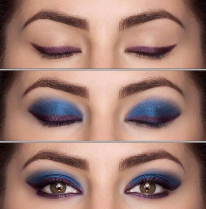 Passo a passo maquiagem azul.