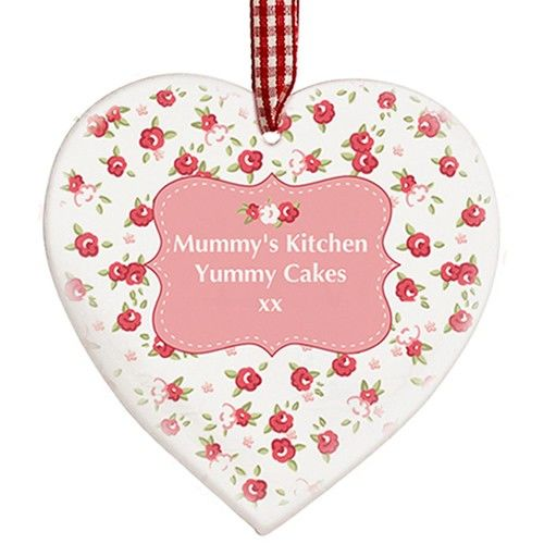 Personalised Vintage Floral Wooden Heart Decoration  from www.personalisedweddinggifts.co.uk :: ONLY £9.99
