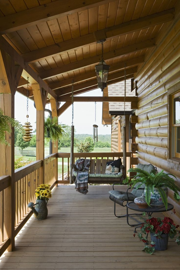 Exterior, vertical, porch swing, Swift residence, Honest Abe Log Homes, Allgood, TN on Log Homes, Timber Frame and Log Cabins by Honest Abe http://www.honestabe.com/social-gallery/arcd-3202