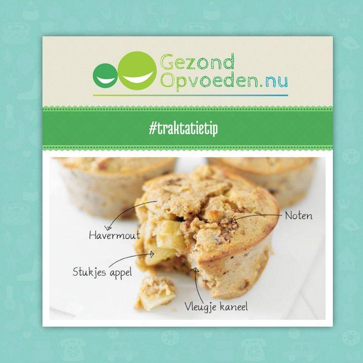 Gezonde muffins als traktatie, ontbijt, lunch, tussendoortje voor kinderen #traktatietip