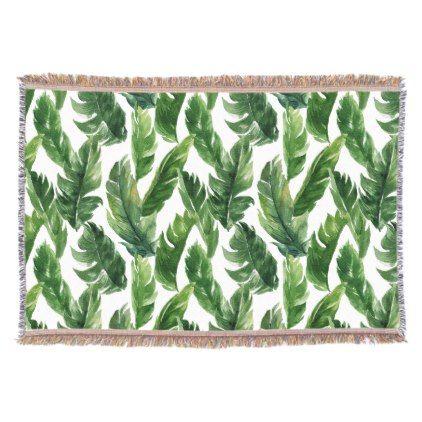 Watercolor Banana Leaves Tropical Throw Blanket - pattern sample design template diy cyo customize