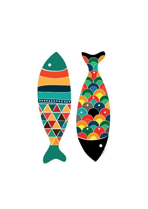 Bunte Fische Art Print - Pop Art - Hochzeit Geschenk Kinderzimmer Kinder Dekor Kinderzimmer Kunst Geburtstag Geschenk Home Garden Decor