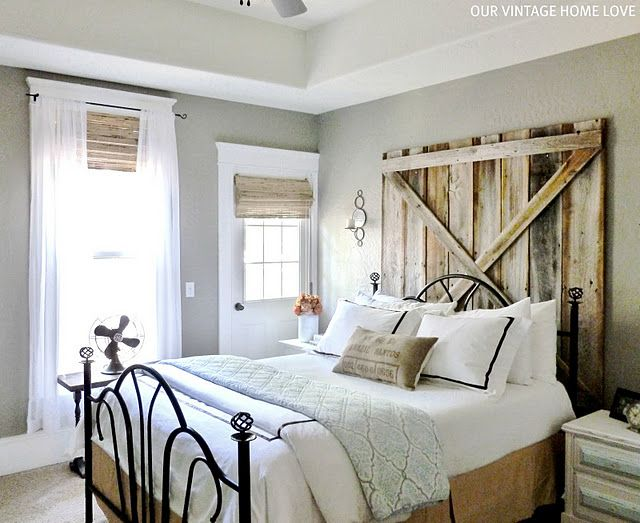 Great headboard- could do with pallets. Love the colors in this room, nice and neutral.: