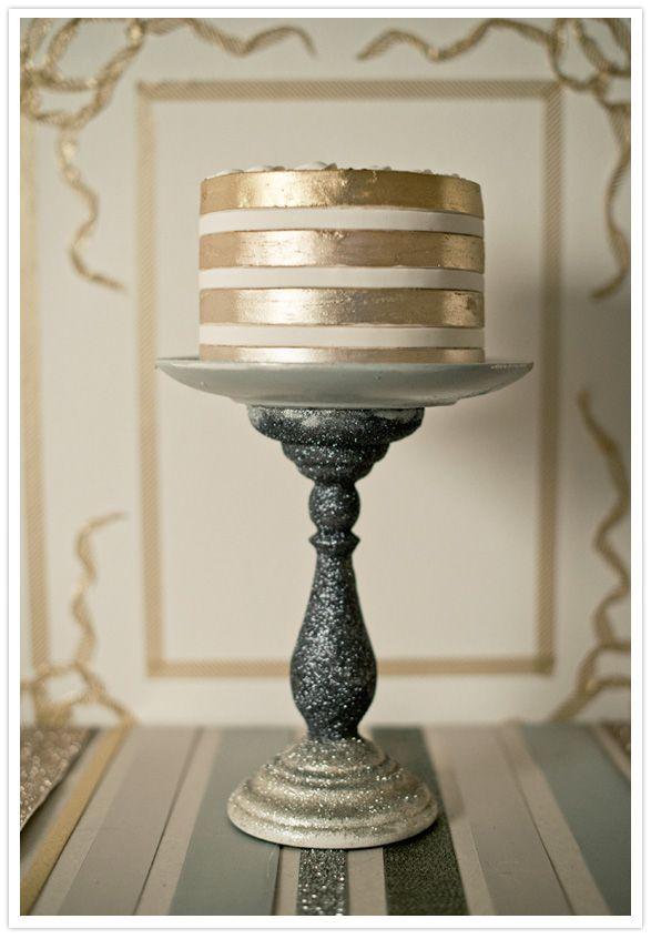 Metallic cake and DIY metallic cake stand! #holidayentertaining