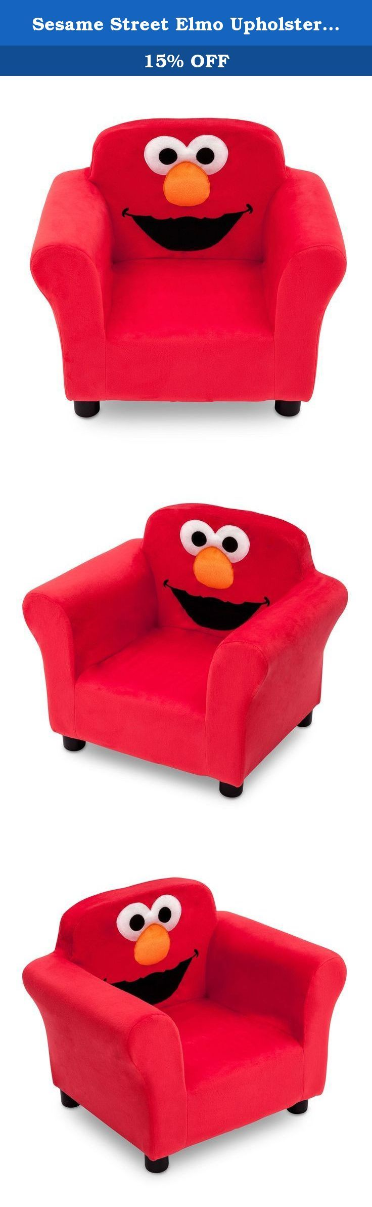 Sesame Street Elmo Upholstered Chair. Brought to you by the letter E, the Sesame Street Elmo Upholstered Chair from Delta Children features Elmo's friendly face. A cozy toddler chair, it features a durable wood frame, plush foam padding and embroidered details that make Elmo instantly recognizable. The perfect kids-only spot for reading, watching movies or just relaxing, it makes any activity extra special.