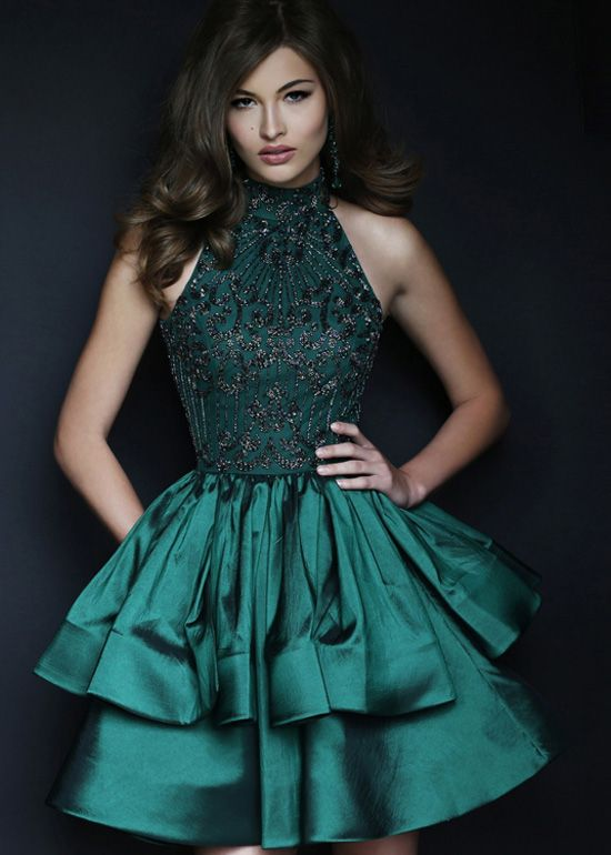 Emerald Halter High Neck Beaded Bodice Tiered A Line Homecoming Dress