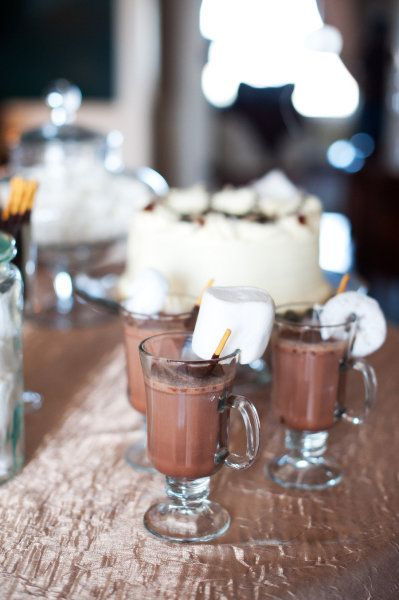 hot chocolate bar. since I can't drink, I think some sort of non-alcoholic bar is a good idea! Good for winter weddings