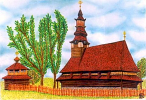Ruszin templom - Kárpátaljai ortodox görög katolikus fatemplomok pasztell rajz
