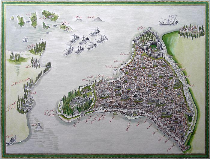 Piri Reis İstanbul map.İstanbul Miniature, Piri Reis - kitab-i Bahriye (1670) Nasser D. Khalili Collection, England (reproduction based on original).