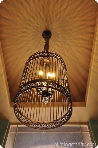 DIY birdcage chandelier - Restoration Hardware sells  birdcage chandelier for $. 2300  Make it for 60 bucks.