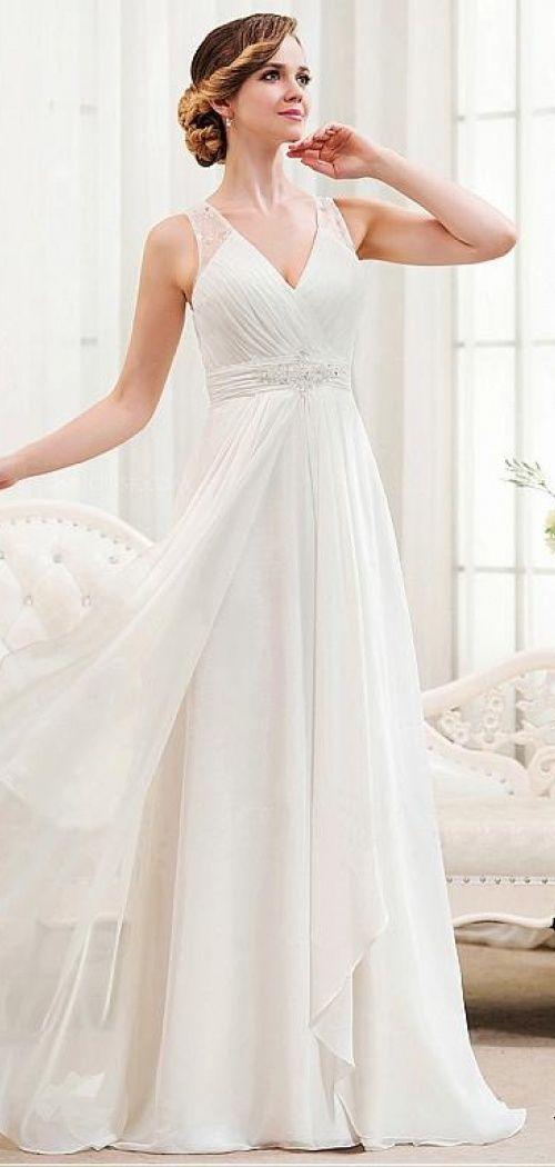 Beading see through back a line beach wedding dress http for Beach wedding bridesmaid dresses pinterest