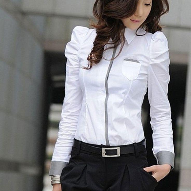 Women Formal Shrug Bubble Long Sleeve Work Wear Shirt Button Blouse Top