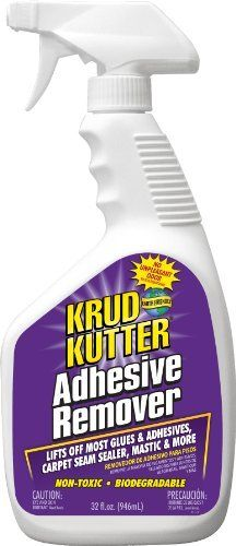 KRUD KUTTER AR32 Adhesive Remover, 32-Ounce by Krud Kutter. $12.39. From the Manufacturer Have an impossible sticky situation? Krud Kutter's Adhesive Remover is perfect for any project. It's a ready to use spray on formula to scrape off, remove most glues & adhesives, carpet sealer & mastic. Also removes dirt, grease, grime, heel marks, and floor wax. Perfect to use after removing tile, carpet, linoleum, laminate, wood, vinyl, and flooring. No unplea...