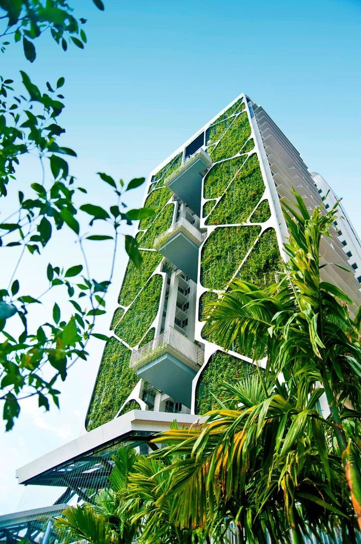 Futuristic Nature House Design: High Rise Building With Garden Planter Covering Entire