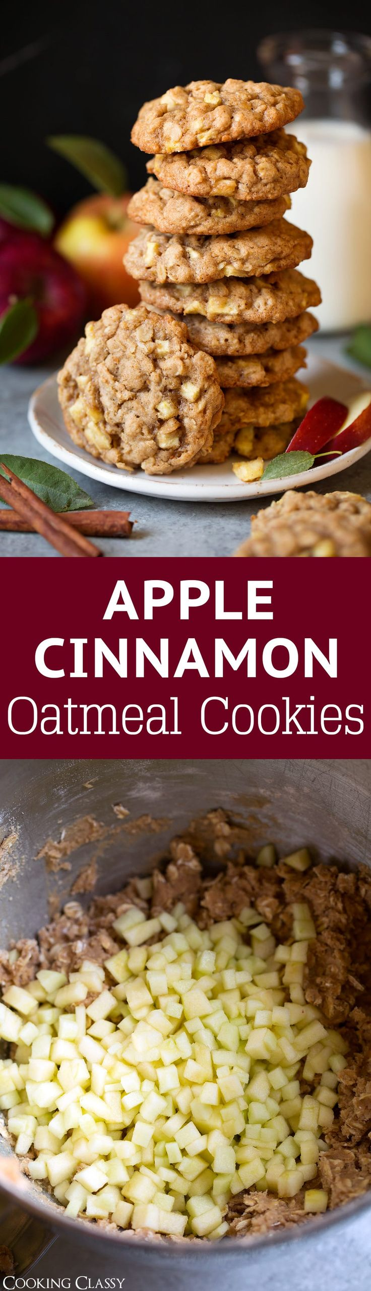 A soft cookie filled with oats, loaded with tiny chunks of apples and swirled with plenty of cinnamon. The perfect fall cookie!