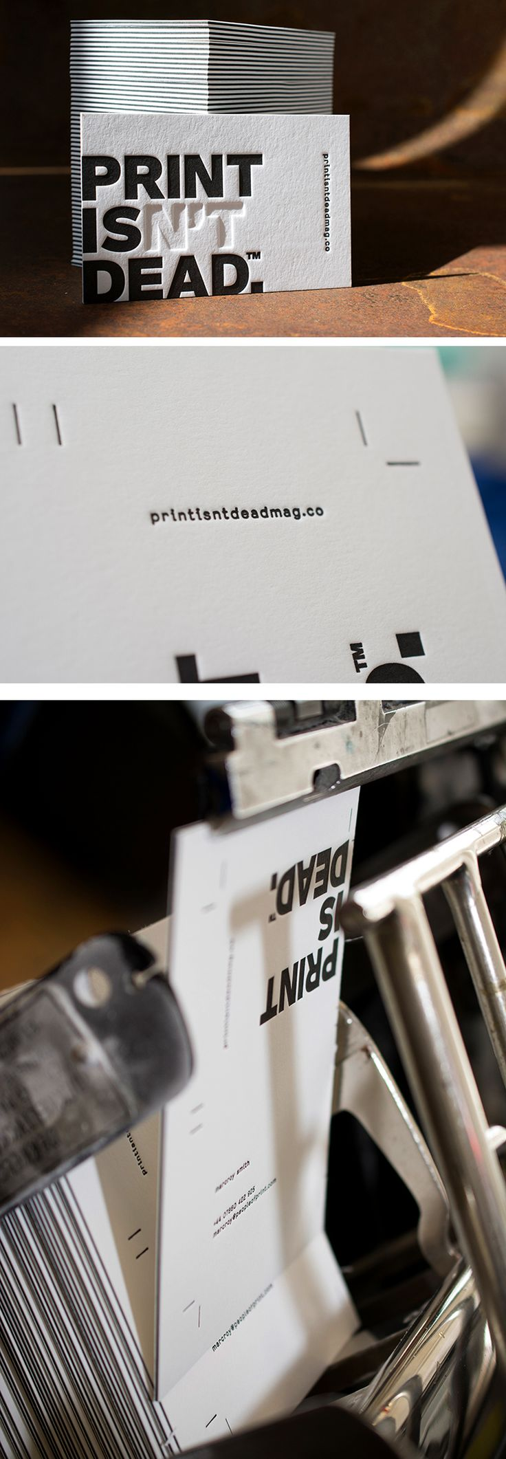 Letterpress Manufaktur Hamburg creates stylish, striking embossed prints using historic machines to provide you with unique pieces of art printed with authentic character on a range of quality papers. Whether is be business cards, wedding cards or invites that you're after, these guys can do it to the highest standard for you. We printed our latest Print Isn't Dead business cards with these guys, and when they turned up in the post we were over the moon…