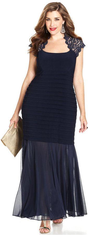 Xscape Evenings Plus Size Glitter-Lace Mermaid Gown « NEVER MISS A SALE