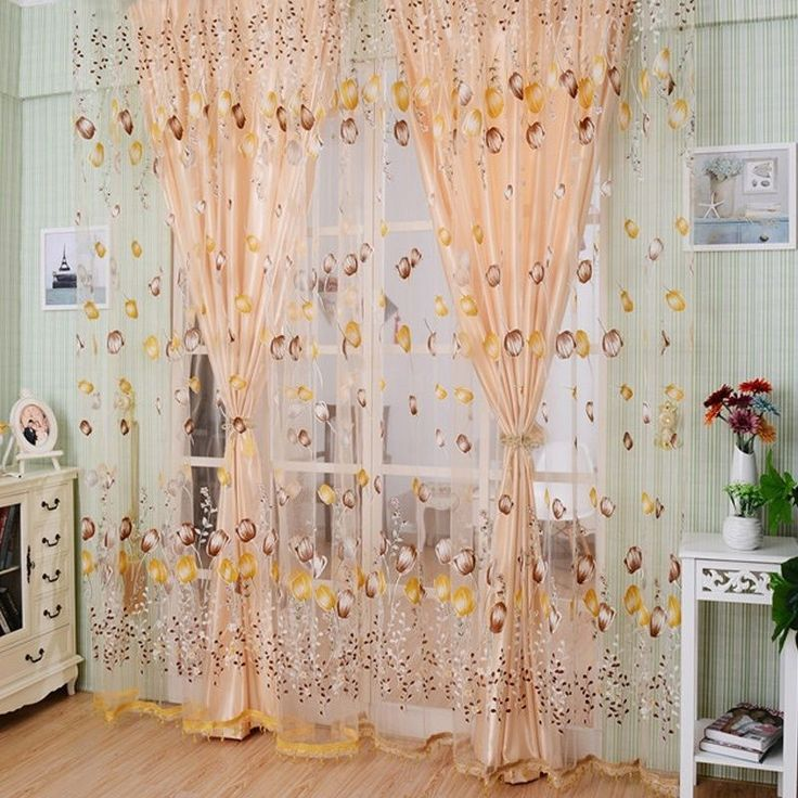 Romantic Floral Tulle Voile Door Window Curtain Drape Panel Sheer Scarf Valances #Unbranded