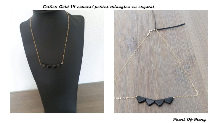 Collier Gold 14 carats triangles en crystal noir