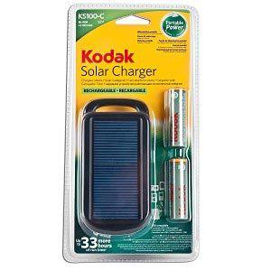 Kodak KS100-C+2 Solar Charger w/2 2100mAH AA Rechargeable Ni-Mh Batteries