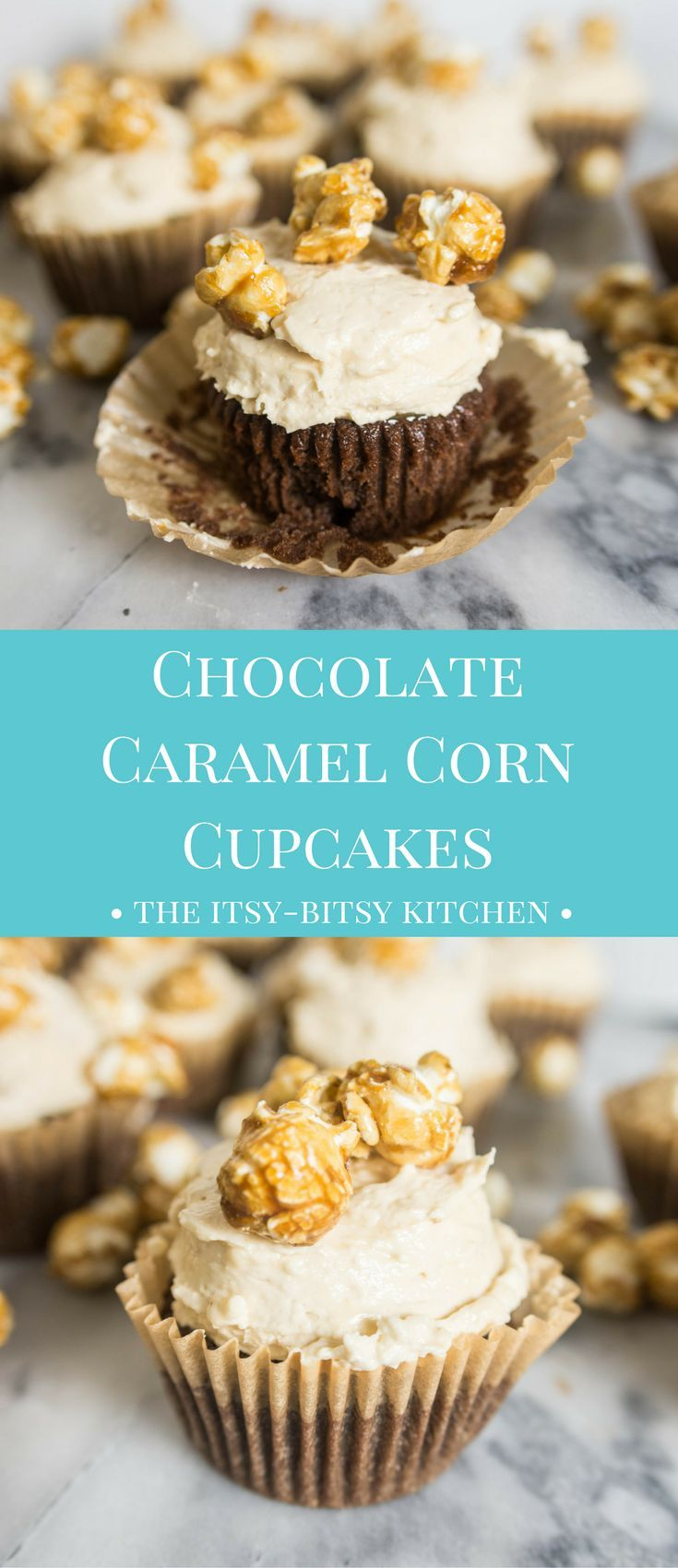 Chocolate caramel corn cupcakes are a chocolate cupcake filled with caramel and topped with caramel-y, popcorn-y frosting. This is one summer dessert that's sure to be a hit!