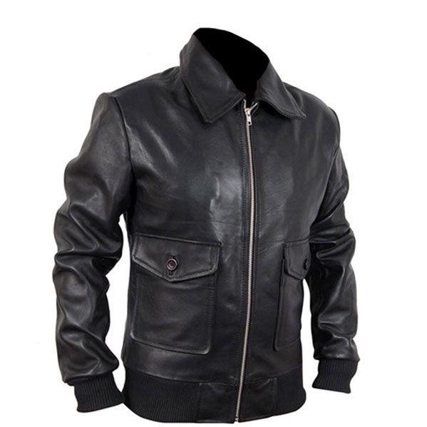 Biker Black Leather jacket Hunter