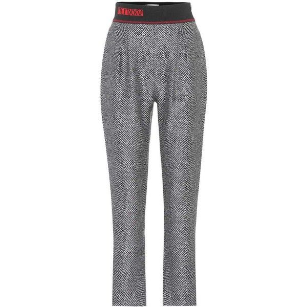 Fendi Cropped Wool and Silk Trousers (22.245 ARS) ❤ liked on Polyvore featuring pants, capris, grey, wool trousers, gray pants, grey wool pants, wool pants and woolen pants