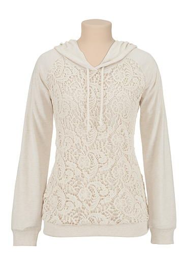 Crochet front hooded sweatshirt (original price, $34) available at #Maurices