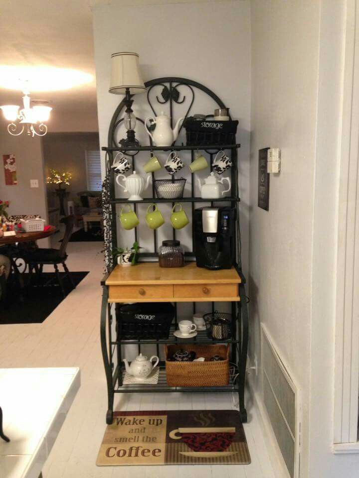 Bakers rack repurposed as a coffee bar.                                                                                                                                                                                 More