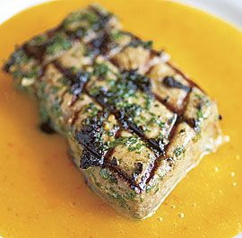 Grilled Tuna Steaks with Mango Habanero Mojo    We served this on fancy lettuce and used the sauce as a dressing!  Delicious!