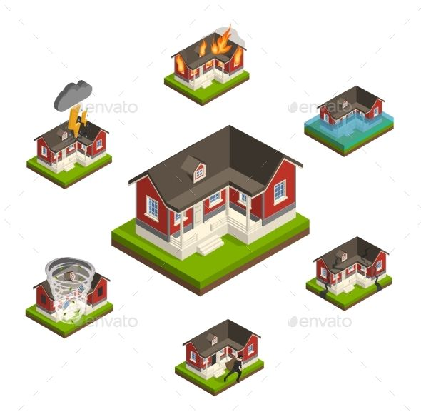 Household Insurance Isometric Set - Buildings Objects Download here : https://graphicriver.net/item/household-insurance-isometric-set/19627583?s_rank=179&ref=Al-fatih