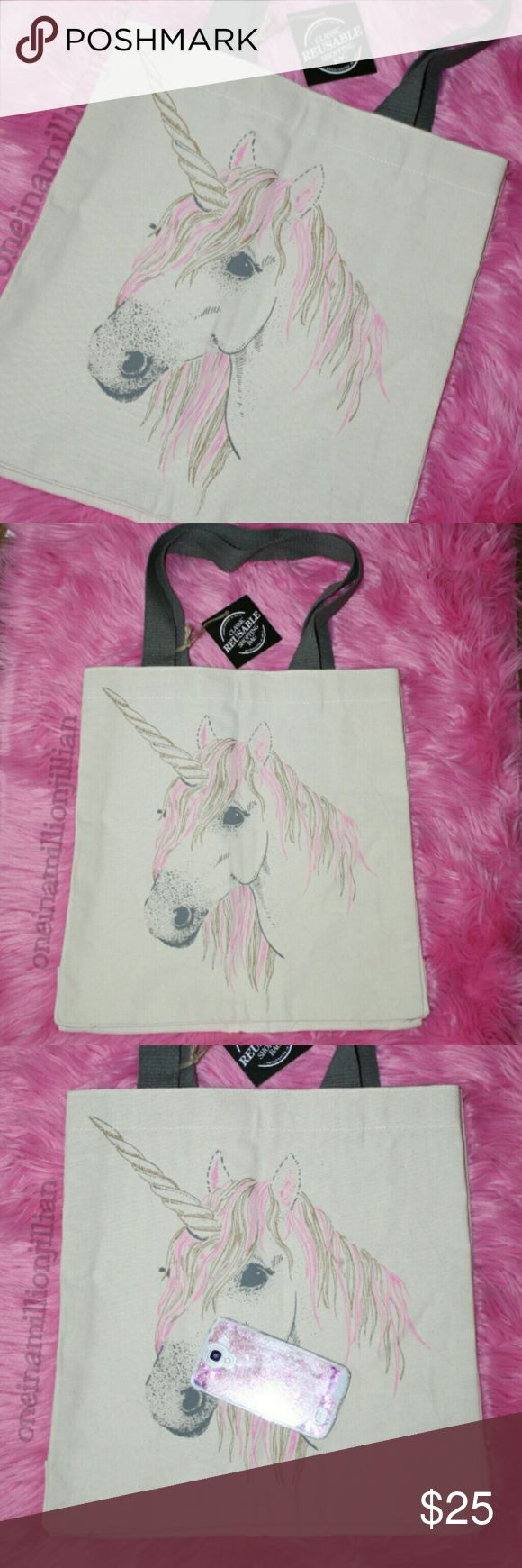 """NWT Large Unicorn Reusable Shopping Tote Bag New with Tags  Classic Reusable Shopper  This all purpose, durable canvas carry all is very well made. Its large size makes it ideal for a variety of uses; carrying everyday essentials to work/school, running errands, grocery/farmers market shopping, trips overnight or for a day at the zoo or beach. It will literally hold everything you could need & then some.  ☆ Double-sided unicorn graphic ☆ Measures 15.5""""x 15.5""""x 5.5"""" ☆ 10.5"""" drop shoulder…"""