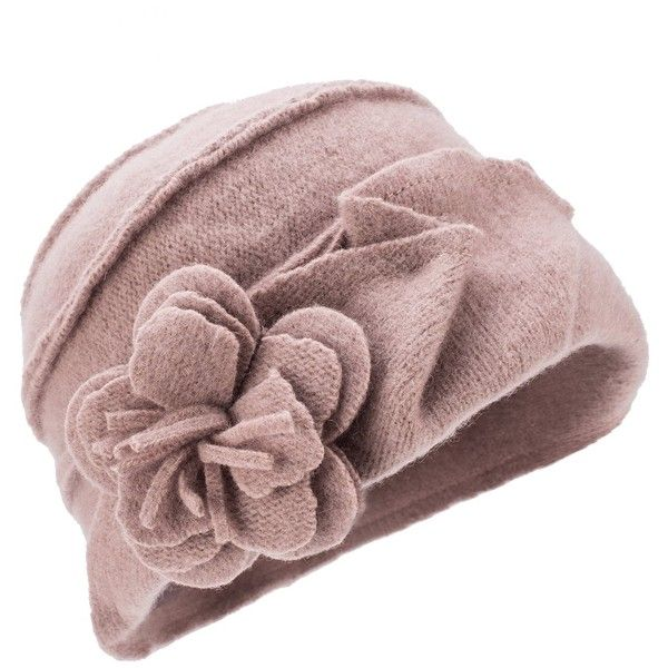 Lawliet Solid Color 1920s Womens 100% Wool Flower Winter Bucket Cap... ❤ liked on Polyvore featuring accessories, hats, khaki hat, bucket cap, beret hat, khaki cap and cap hats