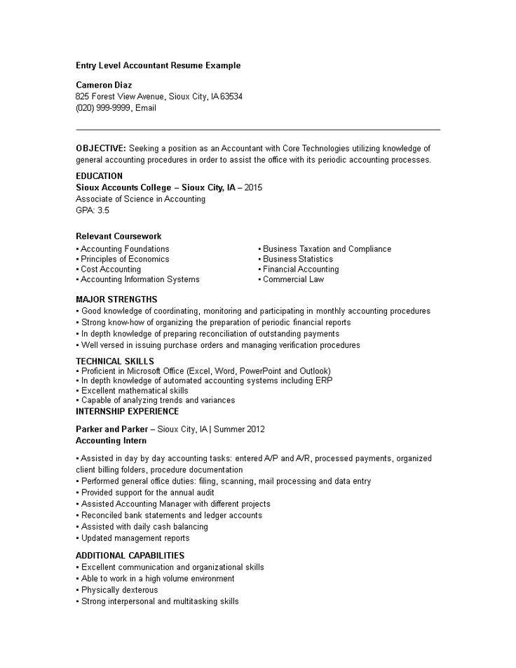 entry level accountant resume  how to draft an entry
