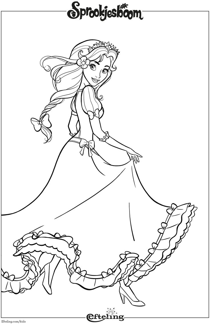 Assepoester van Sprookjesboom. Efteling kleurplaat.