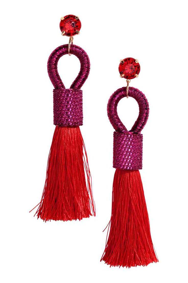 Earrings with tassels - Cerise/Bright red - Ladies | H&M GB 1