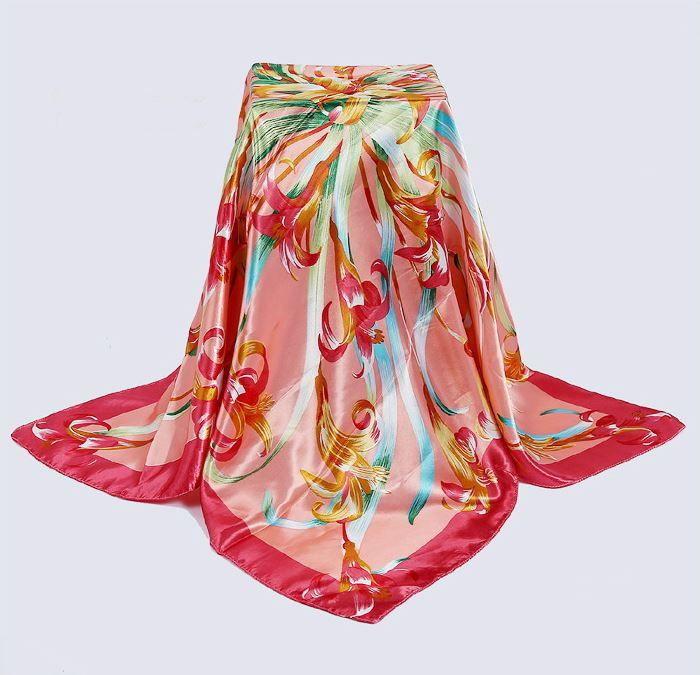 Large Square Satin Silky Scarf Swirl Flower Women Bandana Wrap Shawel Tie a11