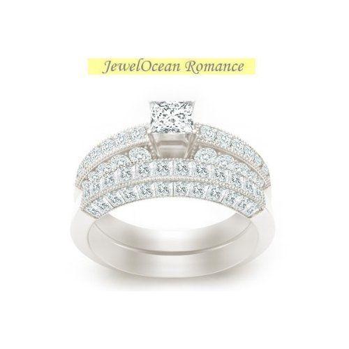 2.17 CaratPrincess Cut DiamondAntique Bridal Set on 10K White Gold FineTresor. $4328.98. Diamond Clarity: I1-I2. Center Diamond Cut: Princess. Center Dimond Carat Weight: 0.50. Metal: 10 K White Gold. Diamond Color: I-J