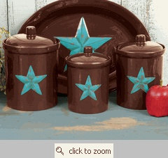 turquise & brown platter & canisters