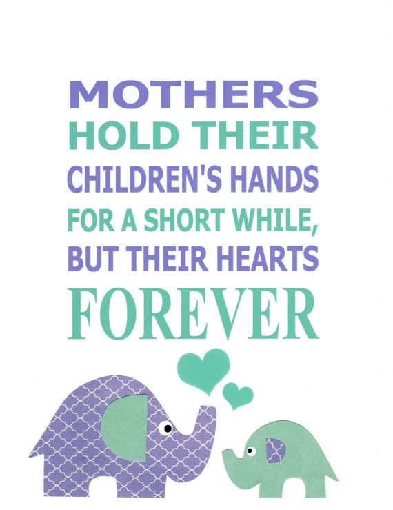 A Mother's Love - In purple and aqua, Nursery Art Kids Wall Art Elephant Nursery Purple by vtdesigns, $9.00