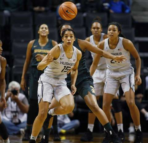 Connecticut's Gabby Williams (15) chases after a loose ball in the second half of an NCAA college basketball game against Michigan State during the Phil Knight Invitational tournament in Eugene, Ore., Saturday, Nov. 25, 2017. (AP Photo/Timothy J. Gonzalez) Photo: Timothy J. Gonzelez / Associated Press / © 2017 Associated Press / All Rights Reserved