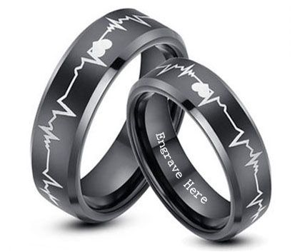 Tungsten Carbide Wedding Bands for Men and Women / Matching His and Hers Black Set / Unique Valentine's Day, Christmas Day Gifts / Heart and Heartbeat Laser Engraved Promise Rings for Couples / Color: Black, Rose Gold, White / Width: 4 mm, 6 mm, 8 mm