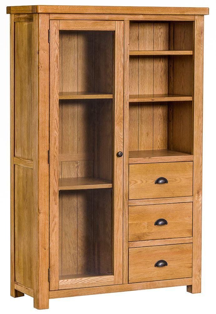 Portland Oak Combined Display Cabinet Bookcase