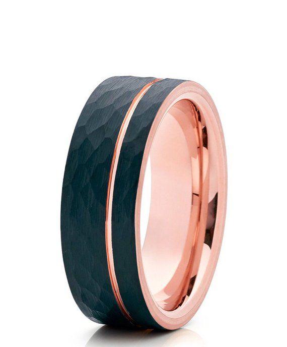 515d615cf1ff5 Brushed Black Tungsten Carbide Wedding Ring Hammered Design Rose ...