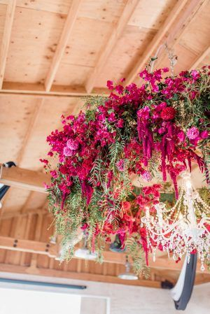 Lush Wedding Inspiration with a Bougainvillea Backdrop   Ruffled